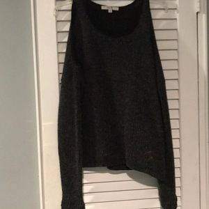 Sweaters - Gray and black cold shoulder sweater